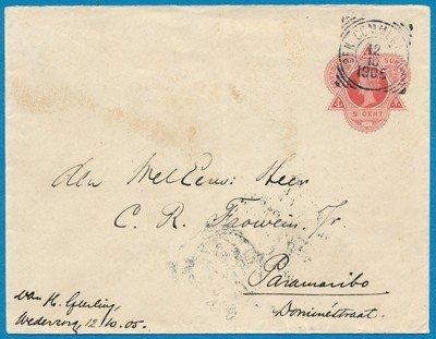 SURINAME envelop 1905 BEN:Commewijne plantage Wederzorg