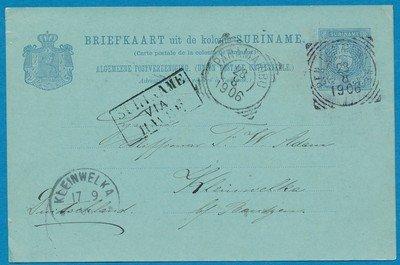 SURINAME briefkaart 1906 BEN:COMMEWIJNE naar Duitsland
