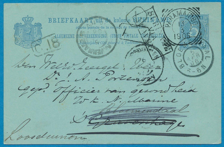 SURINAME briefkaart 1906 Paramaribo naar Den Haag doorgestuurd