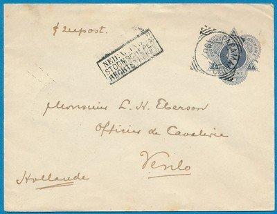 SURINAME envelop 1907 Paramaribo naar Venlo