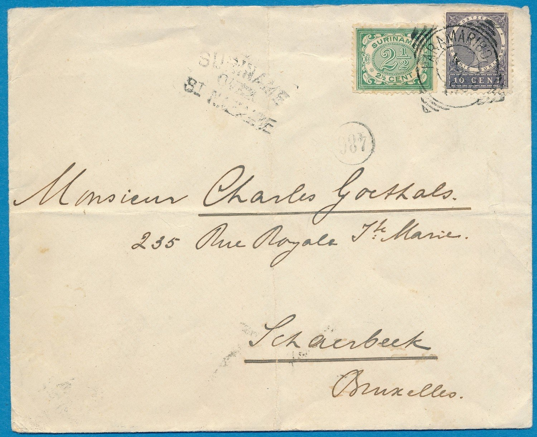SURINAME brief 1908 Paramaribo naar België