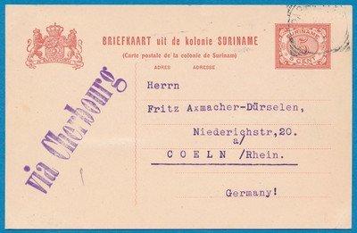 SURINAME briefkaart 1909 Paramaribo met routestempel