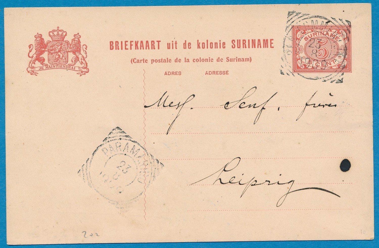 SURINAME briefkaart 1906 Ben:Commewijne plantage Leliëndaal