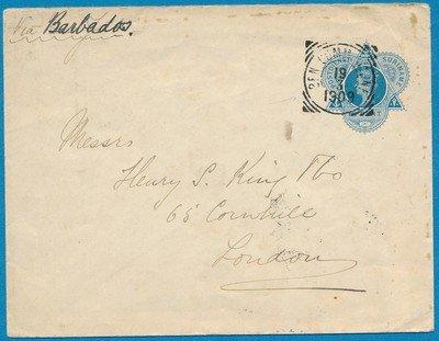 SURINAME envelop 1909 Ben:Commewijne naar London
