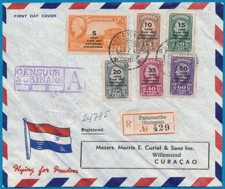 SURINAME FDC  nationaal steunfonds 23-7-1945 met censuur