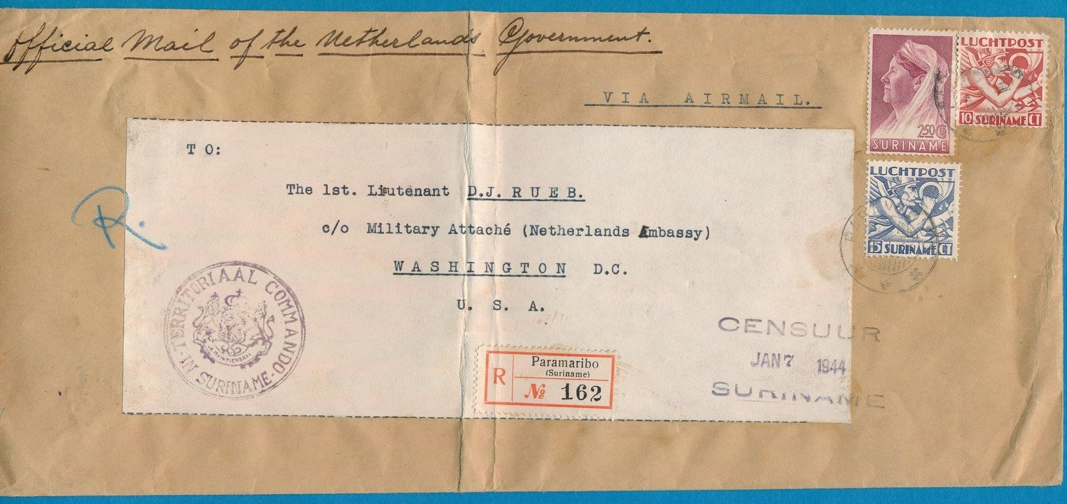 SURINAME R censuur brief 1944 Paramaribo naar USA