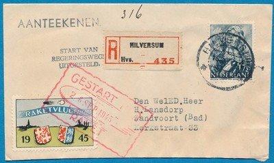 NEDERLAND R raket vlucht 1945 Hilversum