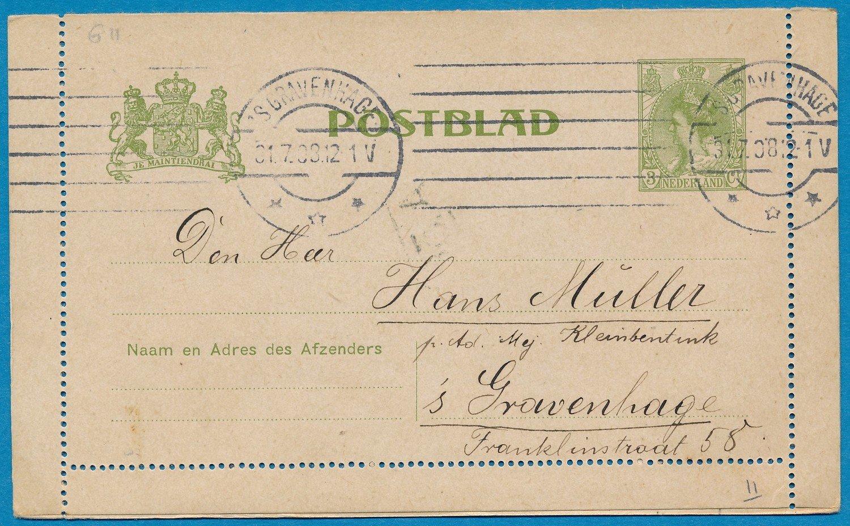 NEDERLAND postblad 1908 's Gravenhage lokaal