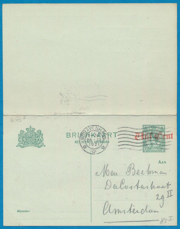 NEDERLAND briefkaart met antwoord 1921 's Gravenhage