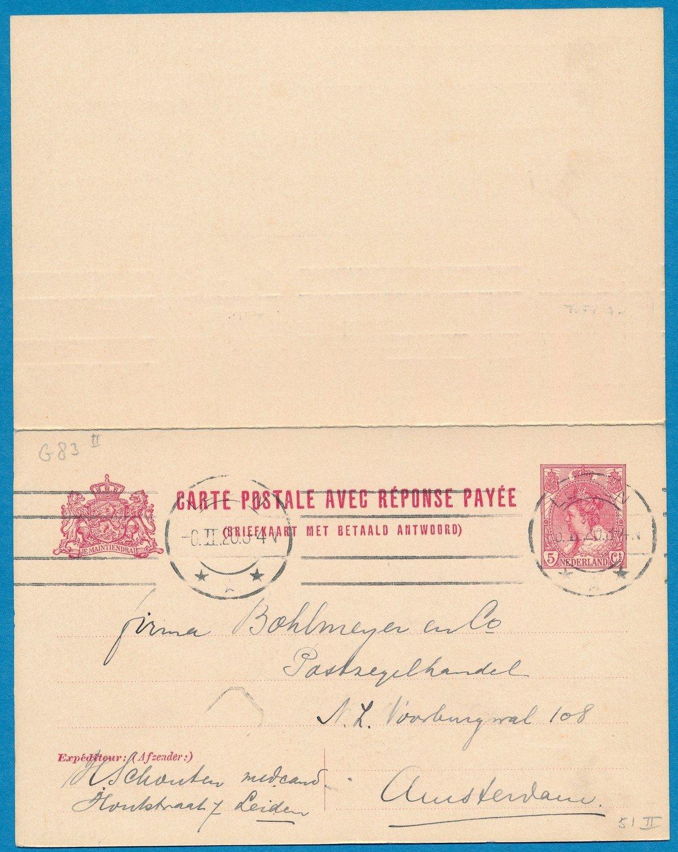 NEDERLAND briefkaart met antwoord 1920 Leiden