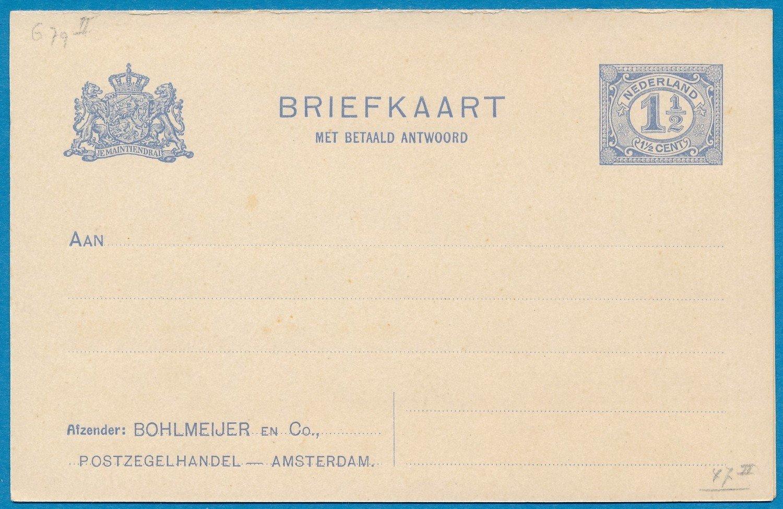 NEDERLAND briefkaart * met antwoord privé bedrukt