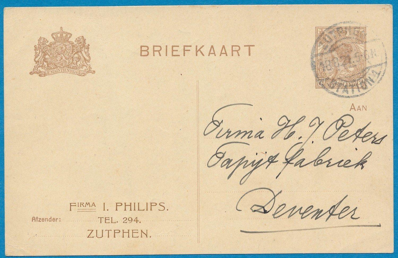 NEDERLAND briefkaart 1921 Zutphen privé bedrukt