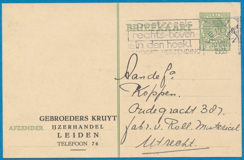 NEDERLAND briefkaart 1935 Leiden privé bedukt Gebr.Kruyt