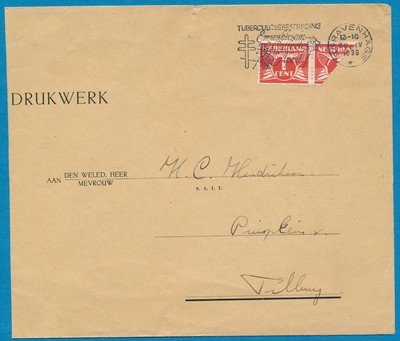 NEDERLAND drukwerk 1938 's Gravenhage naar Tilburg met bisect