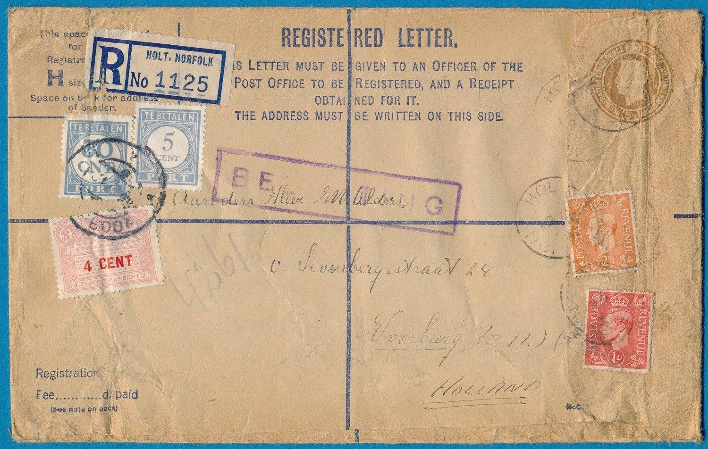 ENGELAND R envelop 1949 Holt met 4ct statistiekrecht Voorburg