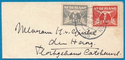 NEDERLAND briefje 1938 Arnhem Station naar Den Haag