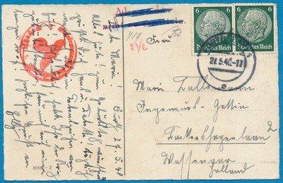 DUITSLAND kaart 21-5-1940 naar Nederland retour