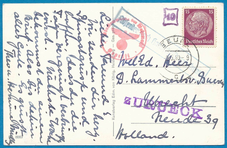 DUITSLAND kaart 9-V-1940 Beuel naar Nederland