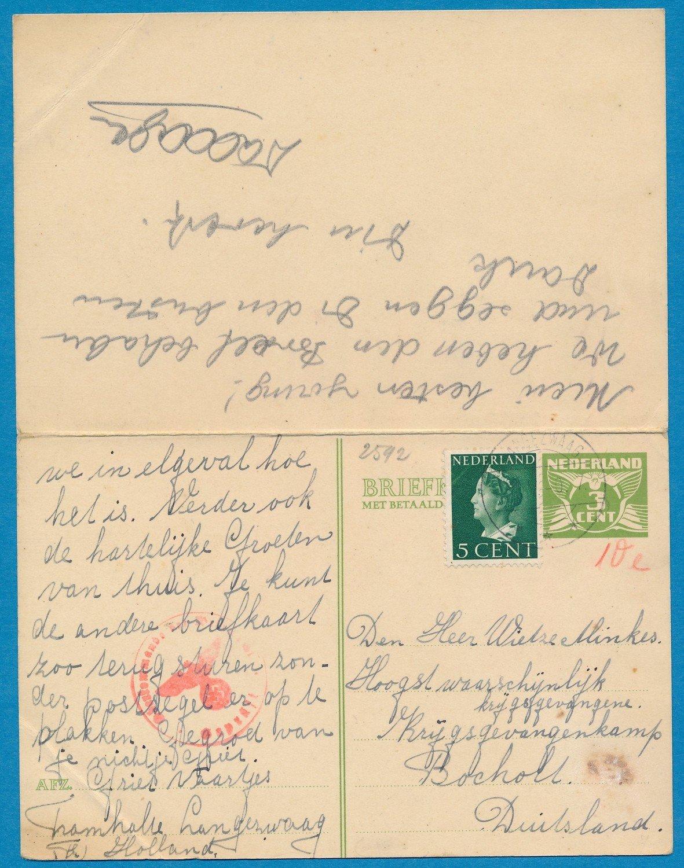 NEDERLAND briefkaart 1940 Langezwaag naar krijgsgevangene