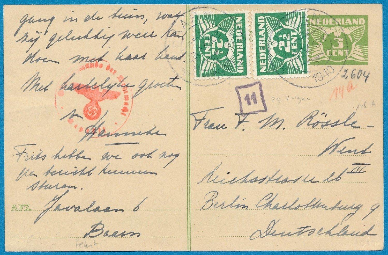 NEDERLAND briefkaart 29-V-1940 Baarn naar Duitsland