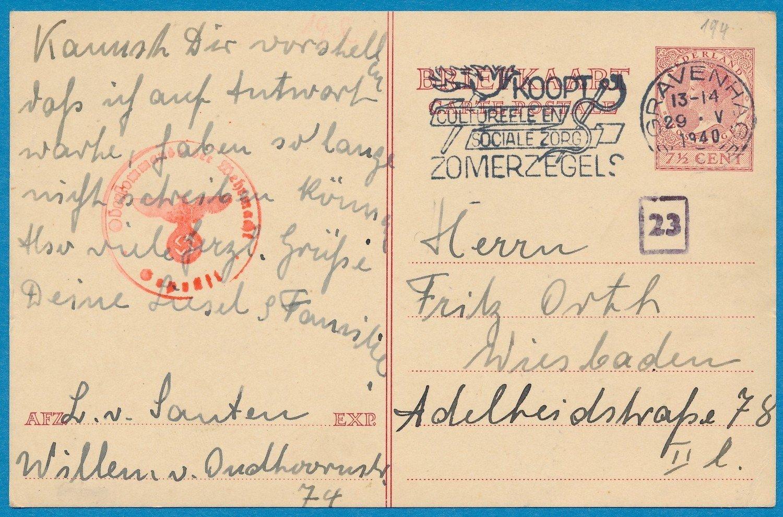NEDERLAND briefkaart 29-V-1940 Den Haag naar Duitsland
