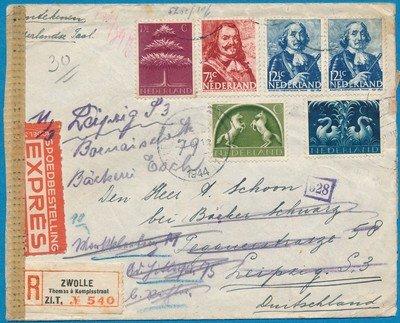 NEDERLAND censuur R expres brief 1944 Zwolle naar Duitsland