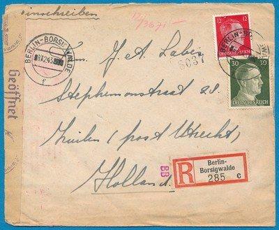 DUITSLAND R censuur brief 1943 Berlijn van tewerkgestelde naar Zuilen