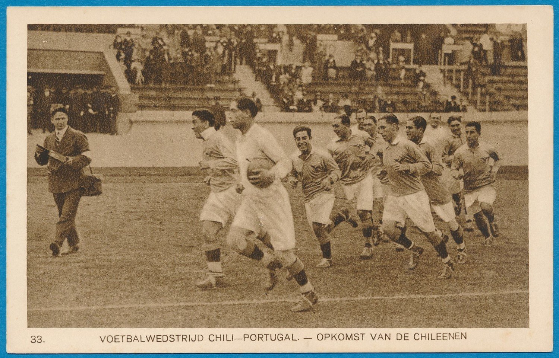 OLYMPIADE Amsterdam 1928 kaart voetbal wedstrijd Chili-Portugal *
