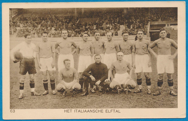 OLYMPIADE Amsterdam 1928 kaart voetbal Italiaans elftal *