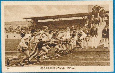 OLYMPIADE Amsterdam 1928 kaart hardlopen finale 800m  dames *