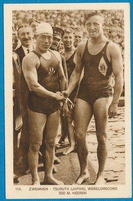 OLYMPIADE Amsterdam 1928 kaart zwemmen 200m heren *