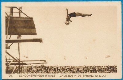 OLYMPIADE Amsterdam 1928 kaart schoonspringen finale *