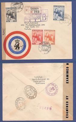 SURINAME censuur FDC 30-5-1945 met bevrijdings cachet