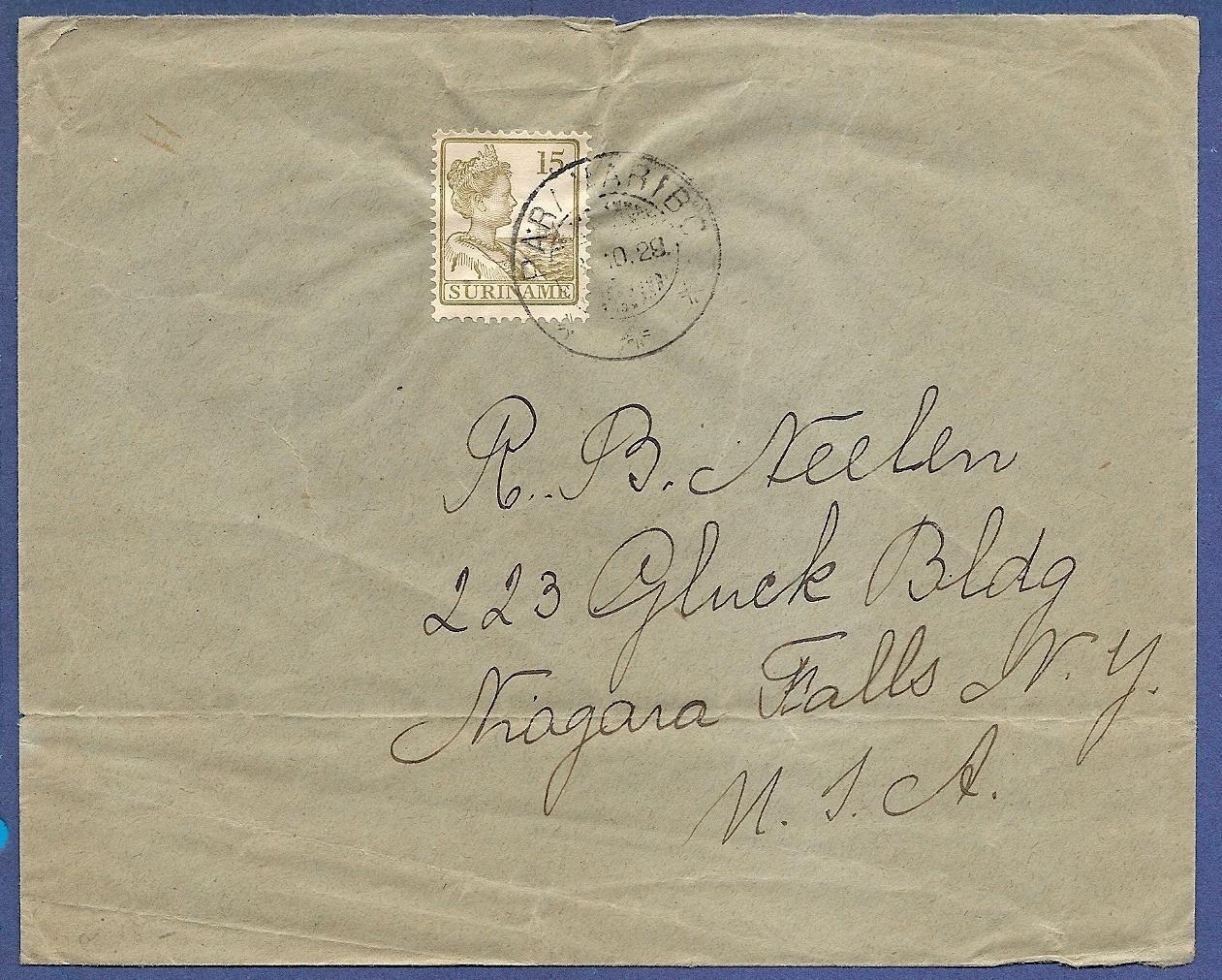 SURINAME brief 1928 Paramaribo naar USA