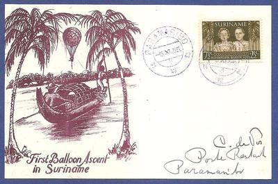 SURINAME 1e ballon vaart 1955 Paramaribo