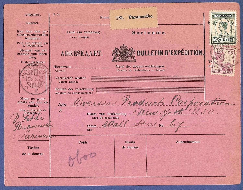 SURINAME pakketkaart 1923 Paramaribo naar USA