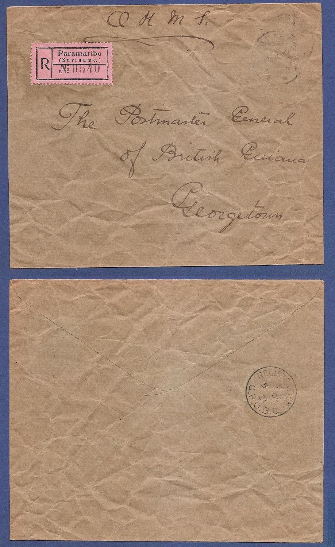 SURINAME R dienstbrief ongefrankeerd 1921 naar Brits Guyana