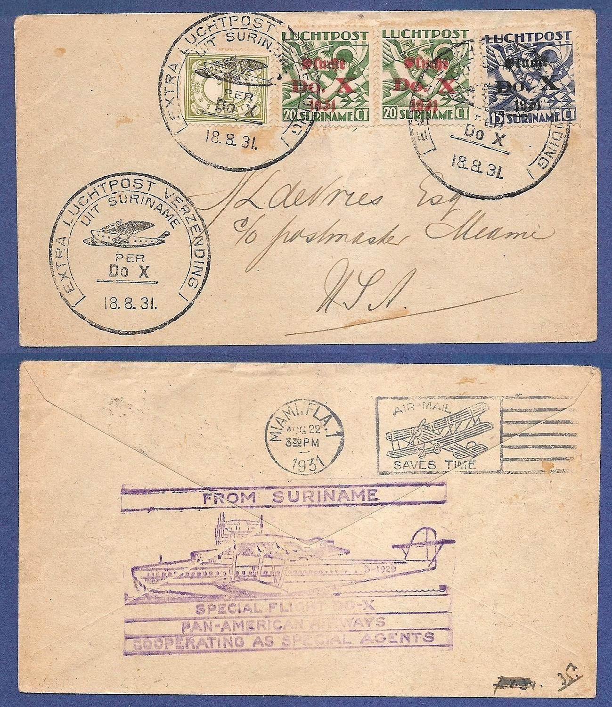 SURINAME DOX vlucht 1931 naar USA