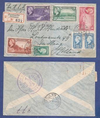 SURINAME R 1e vlucht 1946 Paramaribo - Amsterdam