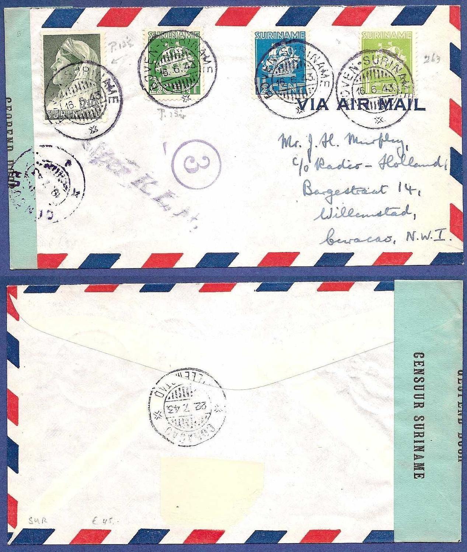 SURINAME censuur brief 1943 Boven-Suriname
