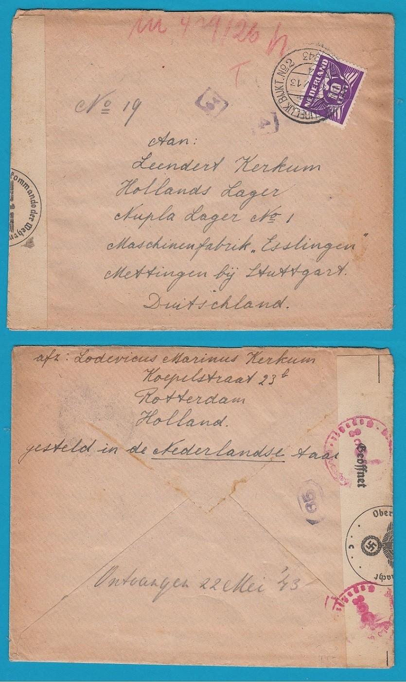 NEDERLAND censuur brief 1943 Rotterdam Bijkantoor