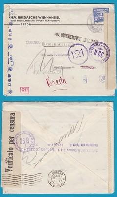 NEDERLAND censuur brief 1942 Breda naar Italië en retour