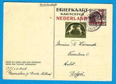 NEDERLAND briefkaart 1945 Breda naar België