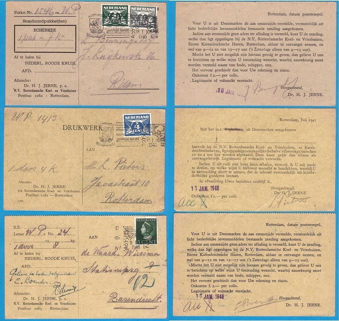 NEDERLAND 3 Rode Kruis kaarten 1946 voedselpakketten
