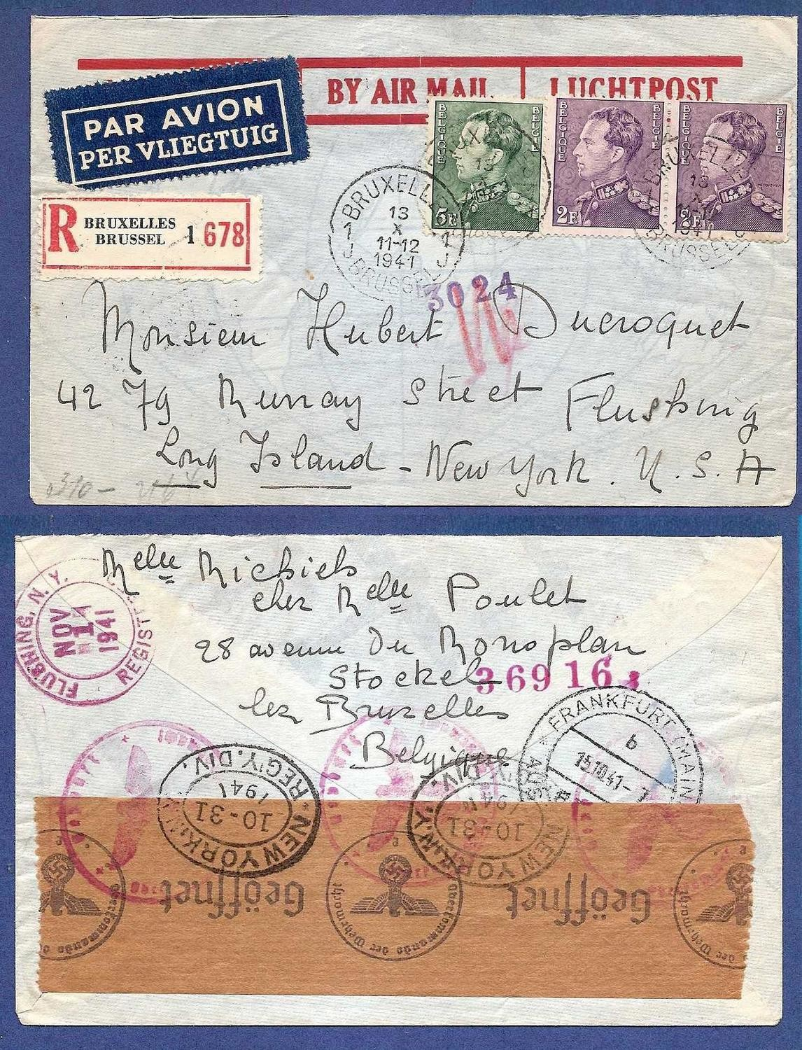 BELGIUM airmail cover 1941 to USA