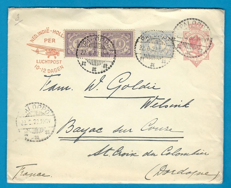 NETHERLANDS INDIES postal envelope1932 Paloppo to France