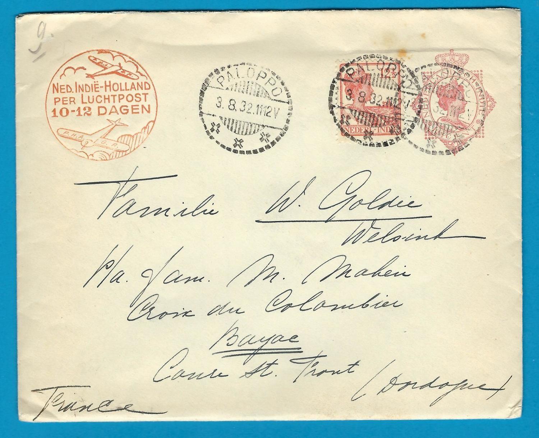 NETHERLANDS INDIES postal envelope1932 Paloppo to France 2