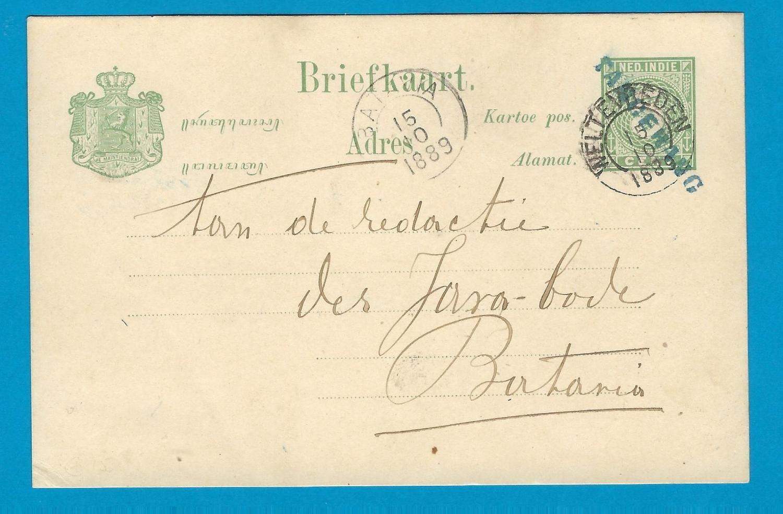 NETHERLANDS INDIES postal card 1889 line cancel TANGERANG