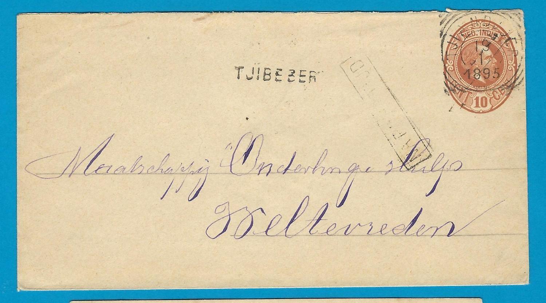 NETHERLANDS INDIES postal envelope 1895 line cancel Tjibeber