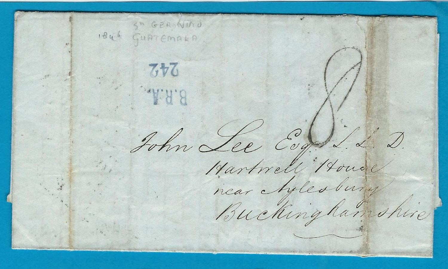 GUATEMALA entire 1846 San Jeronimo over Belize to England